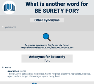 be surety for, synonym be surety for, another word for be surety for, words like be surety for, thesaurus be surety for