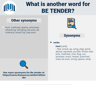 be tender, synonym be tender, another word for be tender, words like be tender, thesaurus be tender