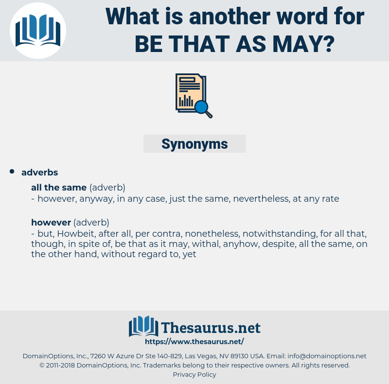 be that as may, synonym be that as may, another word for be that as may, words like be that as may, thesaurus be that as may