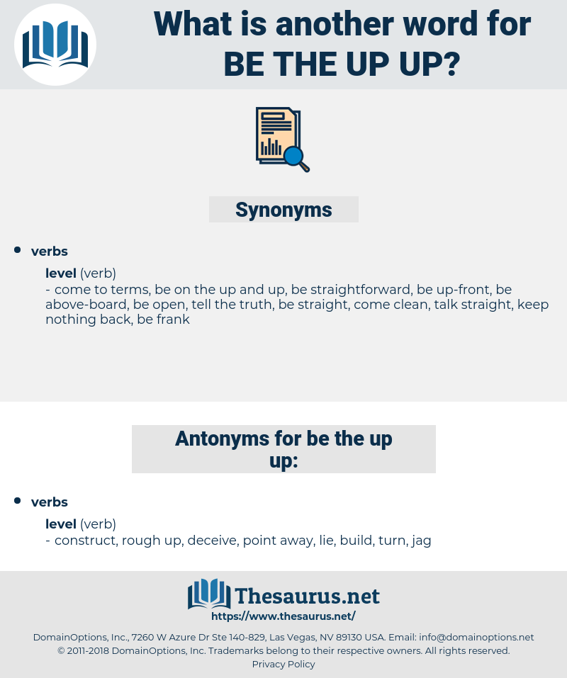 be the up up, synonym be the up up, another word for be the up up, words like be the up up, thesaurus be the up up