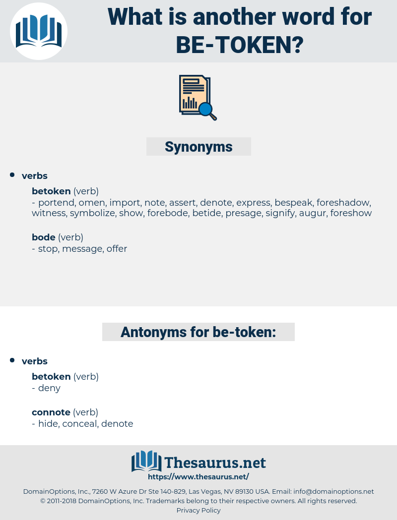 be token, synonym be token, another word for be token, words like be token, thesaurus be token