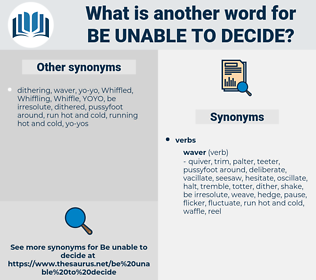 be unable to decide, synonym be unable to decide, another word for be unable to decide, words like be unable to decide, thesaurus be unable to decide