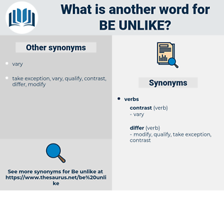 be unlike, synonym be unlike, another word for be unlike, words like be unlike, thesaurus be unlike