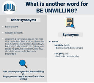 be unwilling, synonym be unwilling, another word for be unwilling, words like be unwilling, thesaurus be unwilling