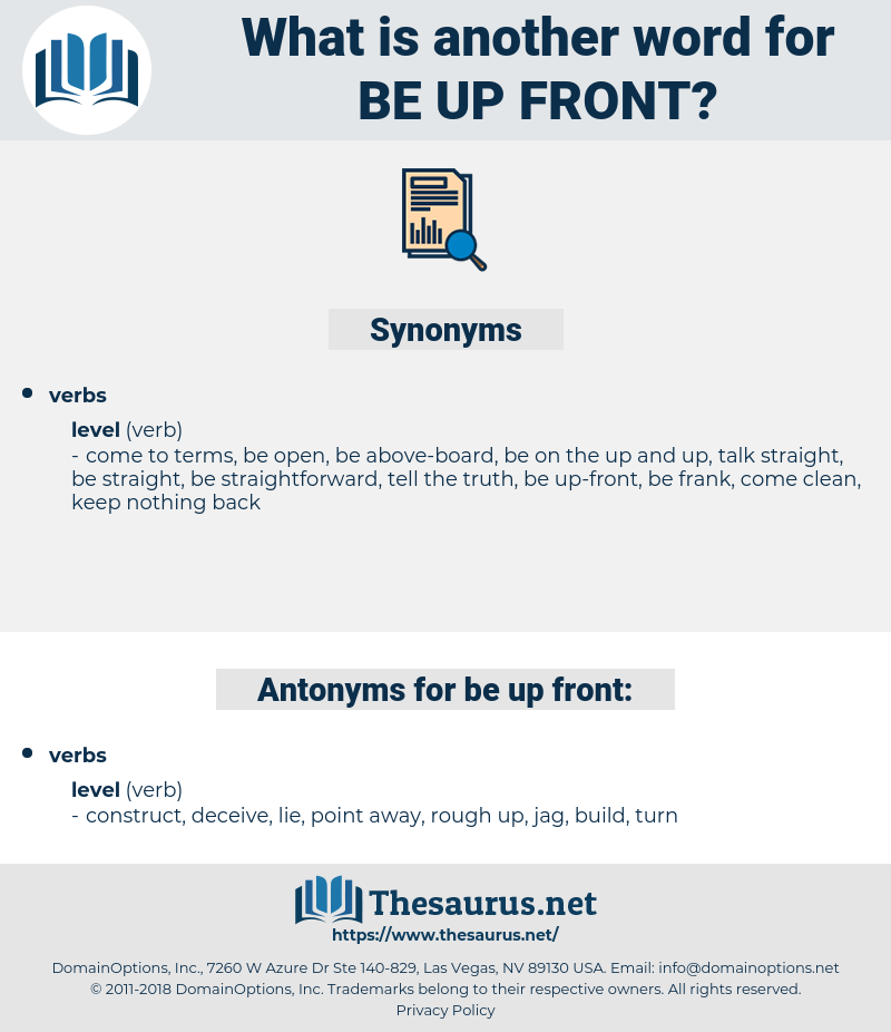 be up-front, synonym be up-front, another word for be up-front, words like be up-front, thesaurus be up-front