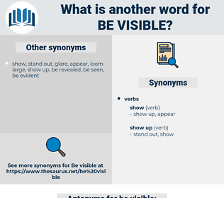 be visible, synonym be visible, another word for be visible, words like be visible, thesaurus be visible