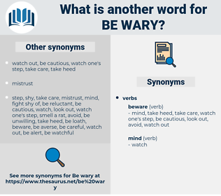 be wary, synonym be wary, another word for be wary, words like be wary, thesaurus be wary