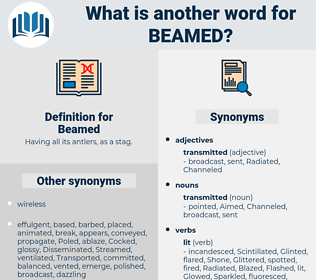 Beamed, synonym Beamed, another word for Beamed, words like Beamed, thesaurus Beamed