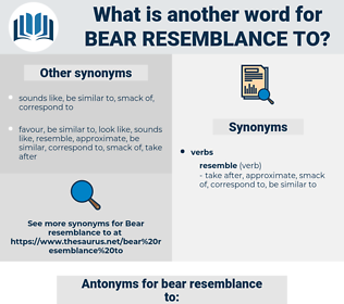 bear resemblance to, synonym bear resemblance to, another word for bear resemblance to, words like bear resemblance to, thesaurus bear resemblance to