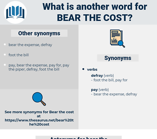 bear the cost, synonym bear the cost, another word for bear the cost, words like bear the cost, thesaurus bear the cost