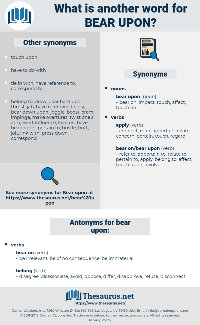 bear upon, synonym bear upon, another word for bear upon, words like bear upon, thesaurus bear upon