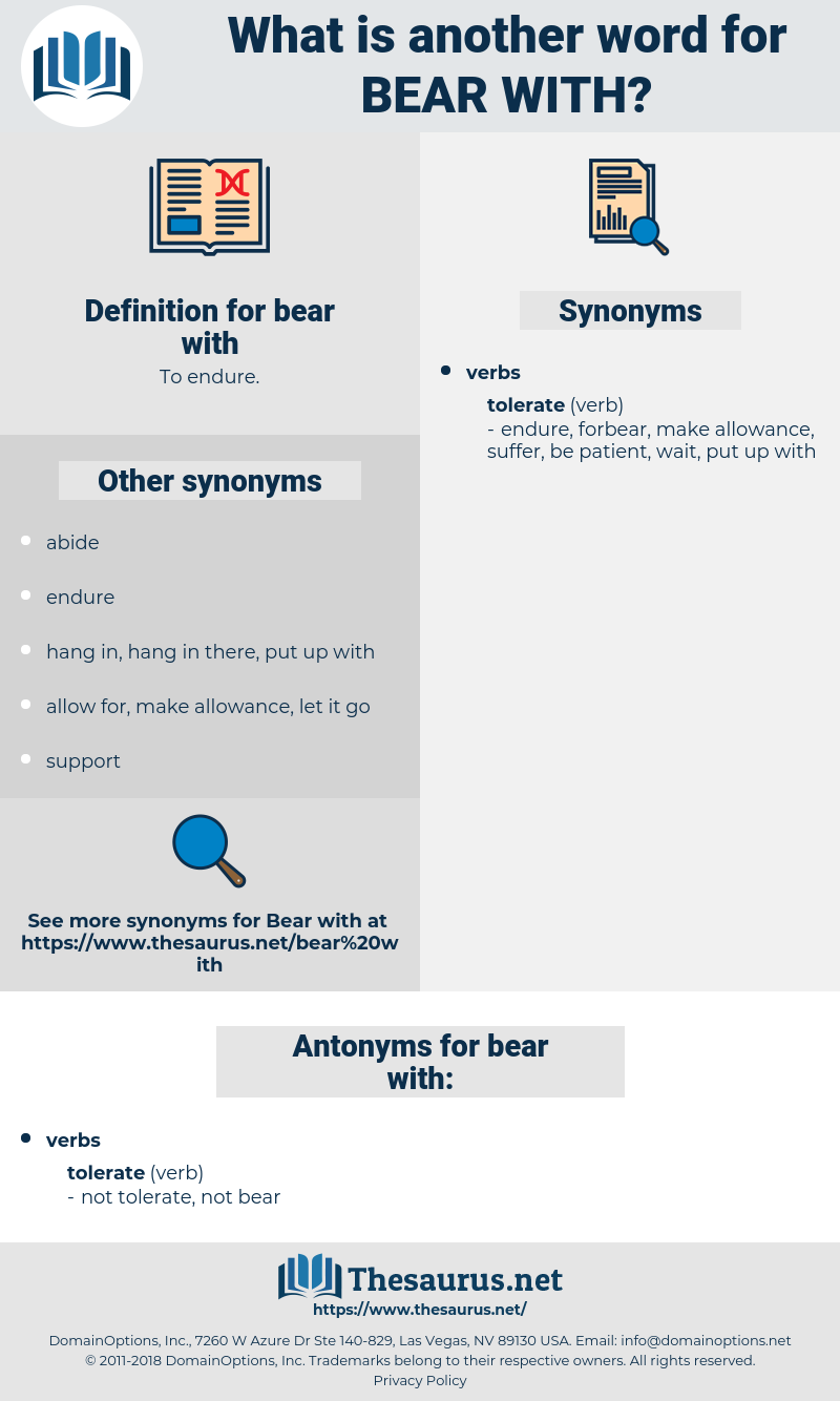 bear with, synonym bear with, another word for bear with, words like bear with, thesaurus bear with
