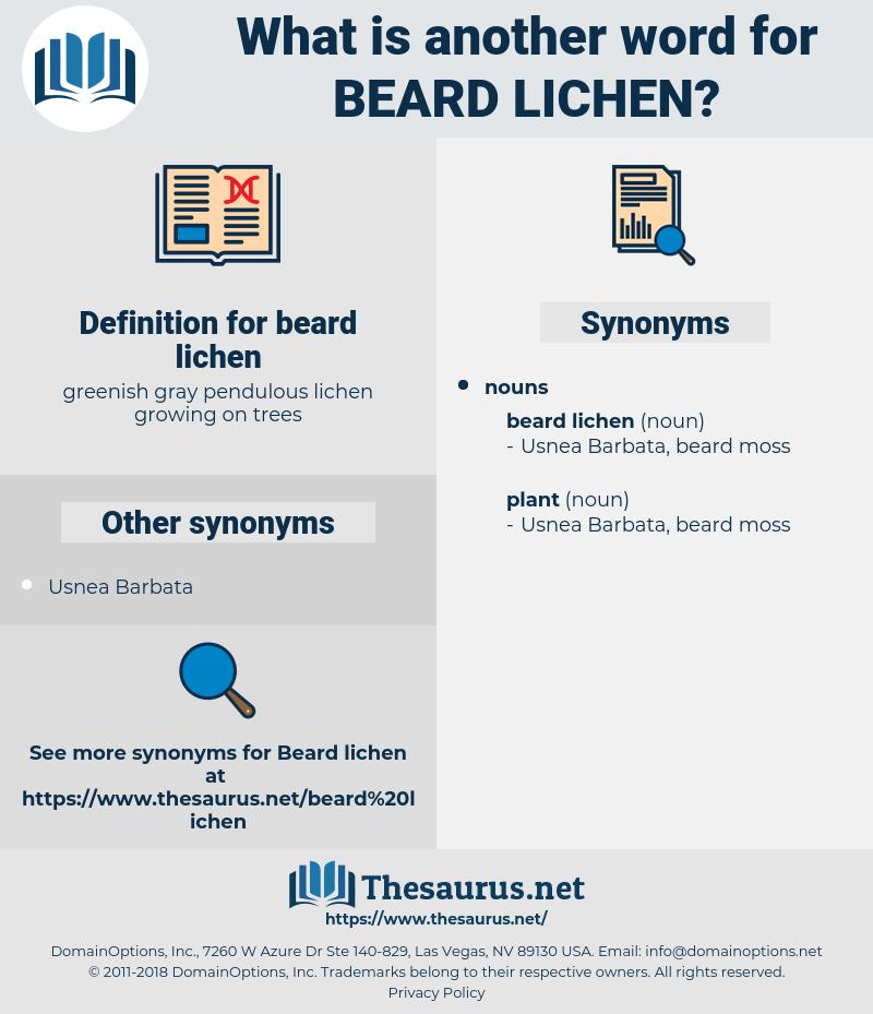 beard lichen, synonym beard lichen, another word for beard lichen, words like beard lichen, thesaurus beard lichen