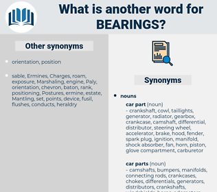 bearings, synonym bearings, another word for bearings, words like bearings, thesaurus bearings