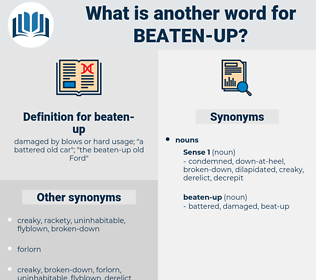 beaten-up, synonym beaten-up, another word for beaten-up, words like beaten-up, thesaurus beaten-up