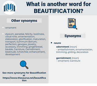 beautification, synonym beautification, another word for beautification, words like beautification, thesaurus beautification