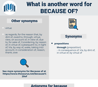 Synonyms for BECAUSE OF, Antonyms for BECAUSE OF - Thesaurus net