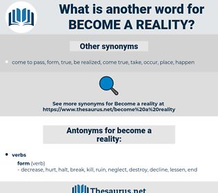 become a reality, synonym become a reality, another word for become a reality, words like become a reality, thesaurus become a reality
