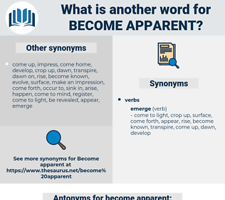 become apparent, synonym become apparent, another word for become apparent, words like become apparent, thesaurus become apparent