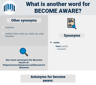 become aware, synonym become aware, another word for become aware, words like become aware, thesaurus become aware