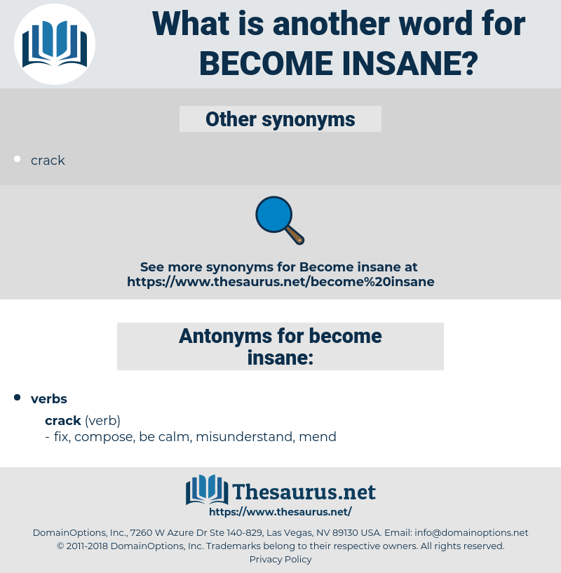 become insane, synonym become insane, another word for become insane, words like become insane, thesaurus become insane