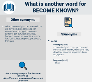 become known, synonym become known, another word for become known, words like become known, thesaurus become known