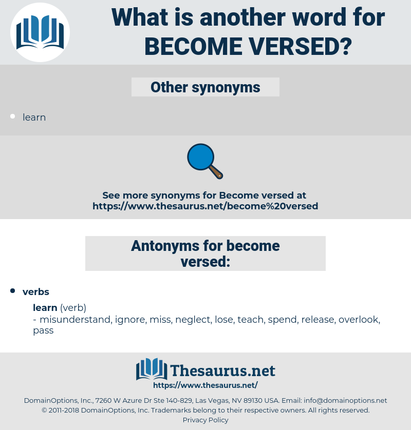 become versed, synonym become versed, another word for become versed, words like become versed, thesaurus become versed