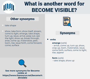 become visible, synonym become visible, another word for become visible, words like become visible, thesaurus become visible