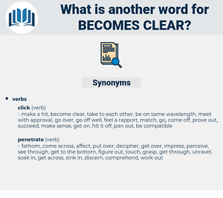 becomes clear, synonym becomes clear, another word for becomes clear, words like becomes clear, thesaurus becomes clear