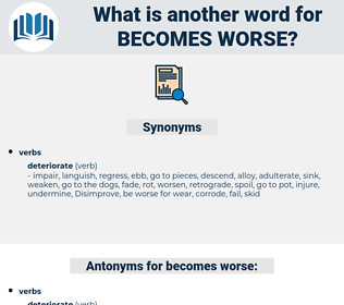 becomes worse, synonym becomes worse, another word for becomes worse, words like becomes worse, thesaurus becomes worse