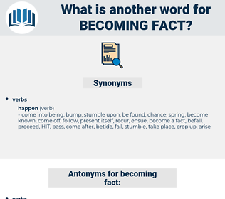 becoming fact, synonym becoming fact, another word for becoming fact, words like becoming fact, thesaurus becoming fact