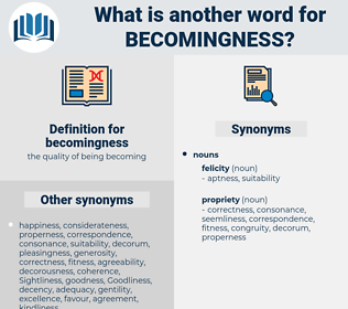 becomingness, synonym becomingness, another word for becomingness, words like becomingness, thesaurus becomingness