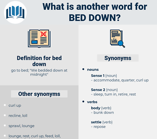 bed down, synonym bed down, another word for bed down, words like bed down, thesaurus bed down
