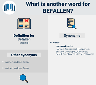 Befallen, synonym Befallen, another word for Befallen, words like Befallen, thesaurus Befallen