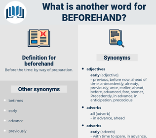 beforehand, synonym beforehand, another word for beforehand, words like beforehand, thesaurus beforehand