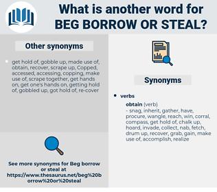 beg borrow or steal, synonym beg borrow or steal, another word for beg borrow or steal, words like beg borrow or steal, thesaurus beg borrow or steal