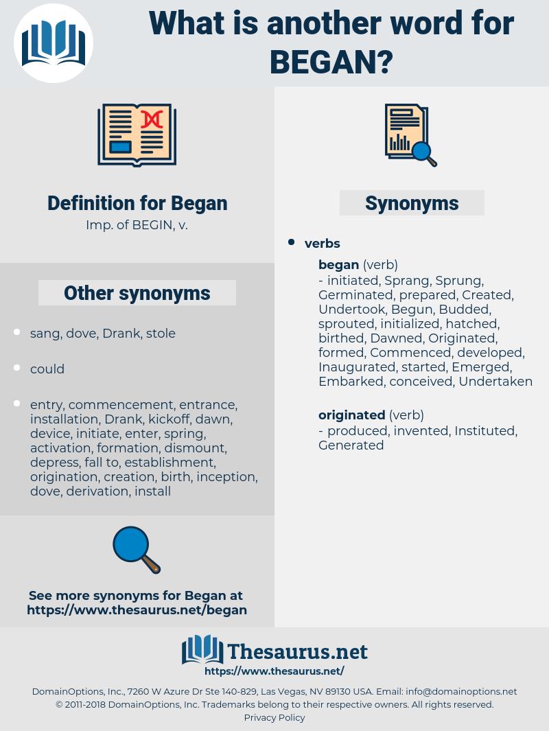 Began, synonym Began, another word for Began, words like Began, thesaurus Began