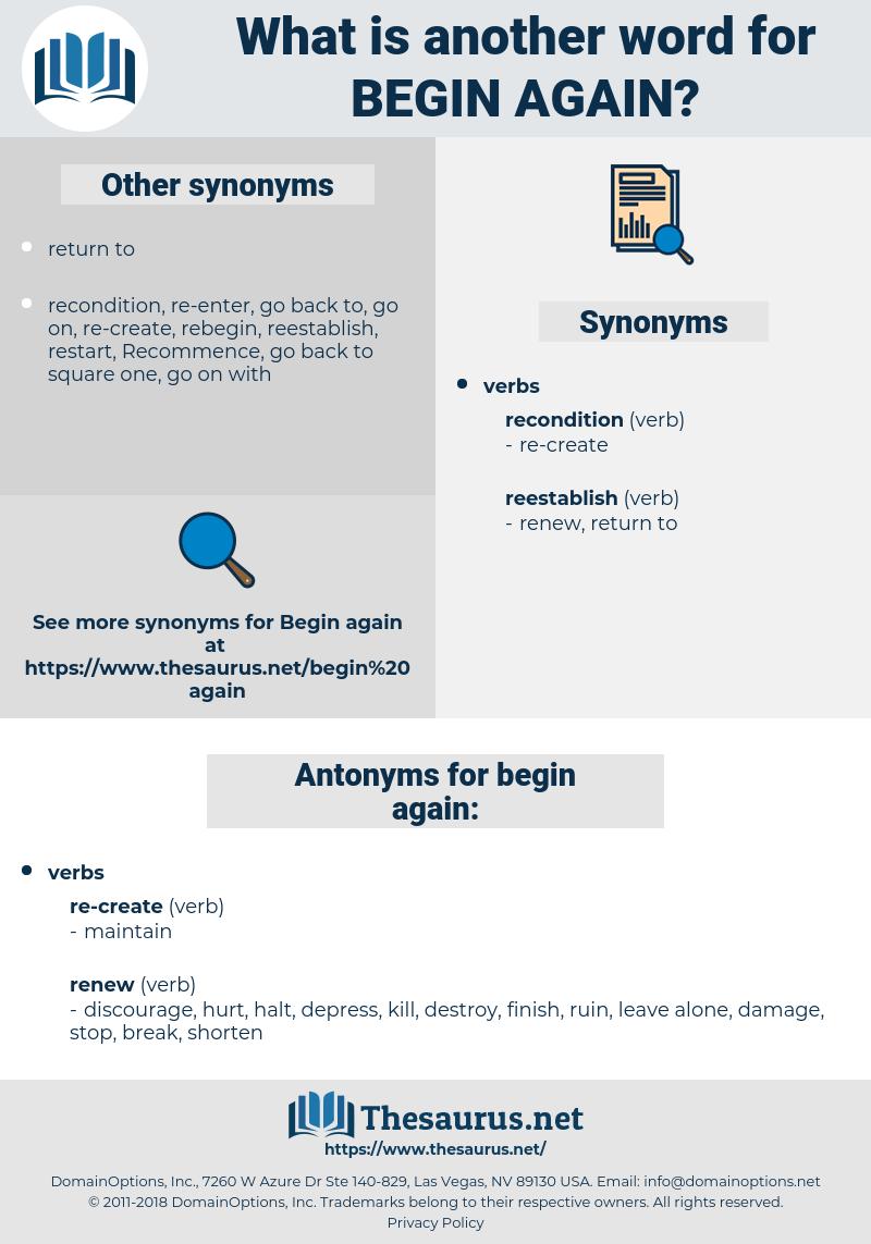 Synonyms For Begin Again Antonyms For Begin Again Thesaurus Net