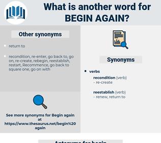 begin again, synonym begin again, another word for begin again, words like begin again, thesaurus begin again