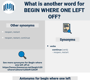 begin where one left off, synonym begin where one left off, another word for begin where one left off, words like begin where one left off, thesaurus begin where one left off