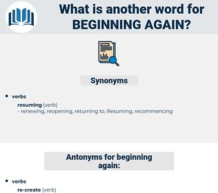 beginning again, synonym beginning again, another word for beginning again, words like beginning again, thesaurus beginning again