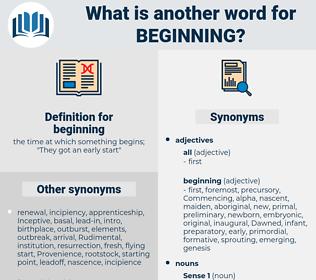 beginning, synonym beginning, another word for beginning, words like beginning, thesaurus beginning