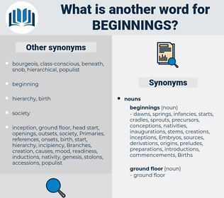 beginnings, synonym beginnings, another word for beginnings, words like beginnings, thesaurus beginnings