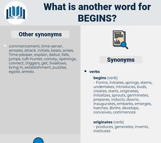 begins, synonym begins, another word for begins, words like begins, thesaurus begins