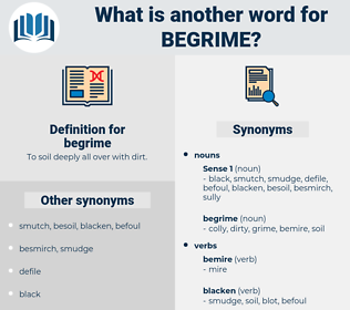 begrime, synonym begrime, another word for begrime, words like begrime, thesaurus begrime