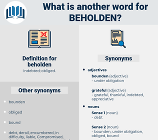 beholden, synonym beholden, another word for beholden, words like beholden, thesaurus beholden