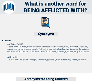 being afflicted with, synonym being afflicted with, another word for being afflicted with, words like being afflicted with, thesaurus being afflicted with