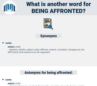 being affronted, synonym being affronted, another word for being affronted, words like being affronted, thesaurus being affronted