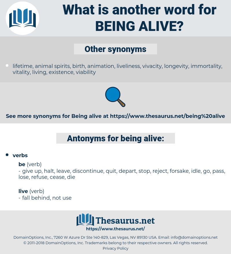 being alive, synonym being alive, another word for being alive, words like being alive, thesaurus being alive
