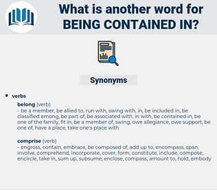 being contained in, synonym being contained in, another word for being contained in, words like being contained in, thesaurus being contained in